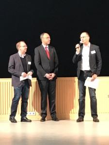 Sebastian Carp, Udo Schnieders und Arne Peper eröffneten den zweiten Tag der faith+funds 2017.