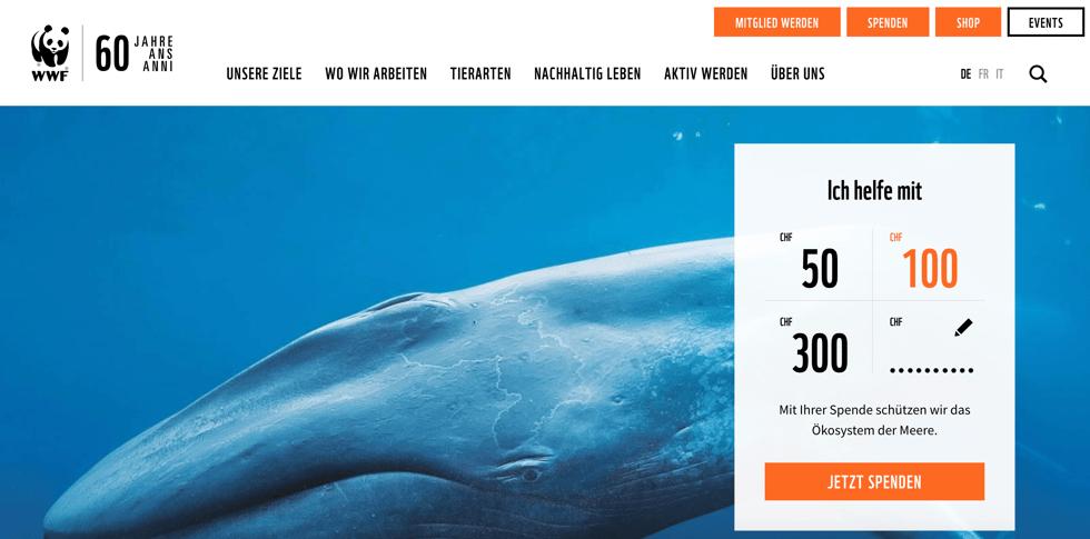 RaiseNow Spendenformular auf der Website der WWF