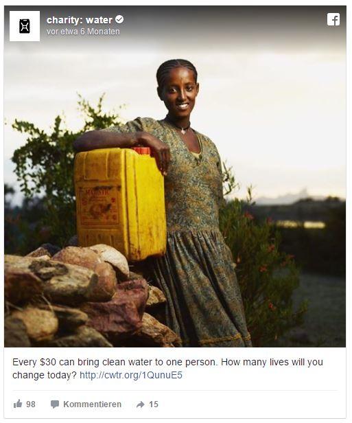 Facebook Post von charity:water