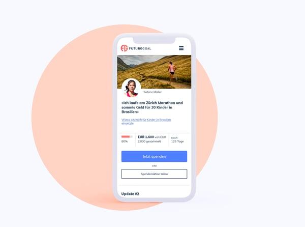 RaiseNows Peer-to-Peer Fundraising bietet einfache Möglichkeiten zum Teilen auf sozialen Medien.