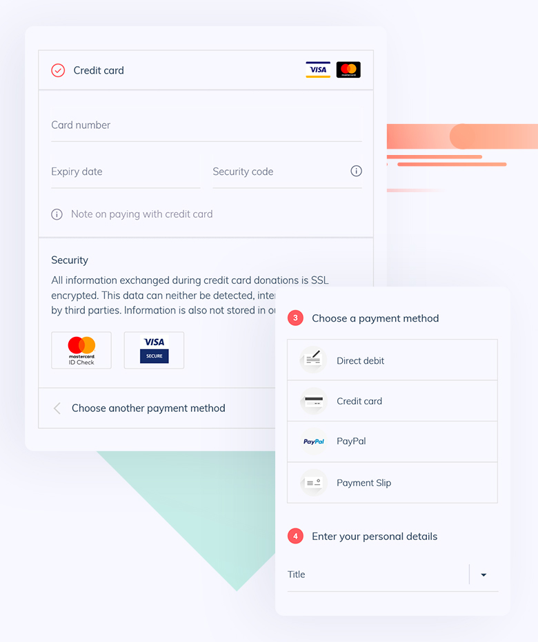 Donation form with local and global payment methods